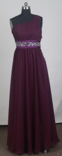 Popular Empire One Shoulder Floor-length Burgundy Prom Dress LHJ42847