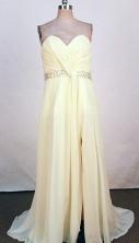 Romantic Empire Sweetheart-neck Floor-length Chiffon Yellow Beading Prom Dresses Style FA-C-164
