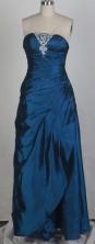 Simple Column Strapless Floor-length Navy Prom Dress LHJ42877