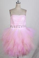 Sweet Short Strapless Mini-length Light Pink Prom Dress LHJ42861