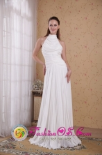 White Empire Organza Pleat Formal Dress  High-neck Floor-length Decorate IN La Paz Bolivia Wholesale Style PDATS108FOR