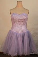 Beautiful Short Sweetheart-neck Mini-length Organza Lilac Beading Quinceanera Dresses Style FA-C-214