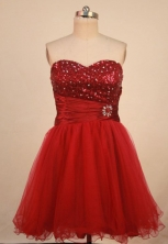 Cut A-line Sweetheart-neck Mini-length Organza Red Beading Short Quinceanera Dresses Style FA-C-171