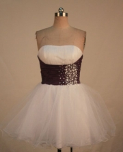 Lovely A-line Strapless Mini-length White Beading Short Quinceanera Dresses Style FA-C-169
