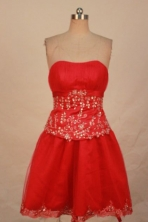 Modest Short Strapless Mini-length Red Appliques Quinceanera Dresses Style FA-C-128