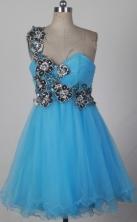 Pretty A-line One Shoulder Mini-length Aqua Quinceanera Dress LHJ42816
