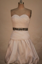 Pretty A-line Sweetheart-neck Mini-length White Beading Short Quinceanera Dresses Style FA-C-203