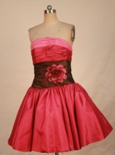 Pretty Short Strapless Mini-length Satin Red Quinceanera Style FA-C-129