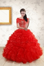2015 Ball Gown Beading Quinceanera Dresses in Red XFNAO092AFOR