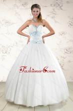 2015 Modern White Quinceanera Dresses with Appliques and Beading XFNAO091FOR