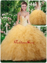2016 Luxurious Straps Beading and Ruffles Sweet 16 Dresses in Champange SJQDDT277002FOR