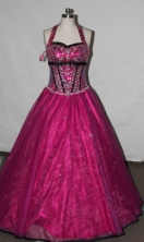 Affordable A-line Halter top Floor-length Quinceanera Dresses TD2424