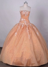 Affordable Ball Gown Strapless FLoor-Length  Orange Appliques And Beading Quinceanera Dresses Style FA-S-047