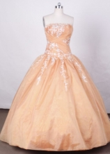 Affordable Ball Gown Strapless FLoor-Length Quinceanera Dresses LZ42460