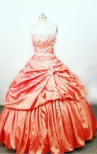Affordable Ball gown Strapless Floor-length Taffeta Orange Quinceanera Dresses Style FA-W-0