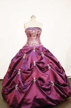 Affordable Ball gown Strapless Floor-length Taffeta Purple Quinceanera Dresses Style FA-W-193