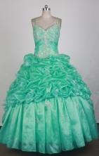 Beautful Ball Gown Straps Floor-length Teal Vintage Quinceanera Dress LZ426013