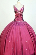 Beautiful Ball Gown Strap Floor-length Burgundy Taffeta Beading Quinceanera dress Style FA-L-221