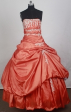 Beautiful Ball Gown Strapless Floor-length Orange Red Vintage Quincenera Dresses TD260058