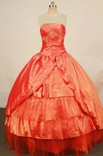 Beautiful Ball Gown Strapless Floor-length Orange Taffeta Beading Quinceanera dress Style FA-L-245