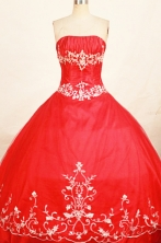 Beautiful Ball Gown Strapless Floor-length Red Appliques Quinceanera dress Style FA-L-270