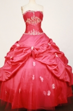 Beautiful Ball Gown Strapless Floor-length Red Taffeta Appliques Quinceanera dress Style FA-L-368