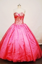 Beautiful Ball gown Sweetheart-neck Floor-length Organza Red Quinceanera Dresses Style FA-W-128
