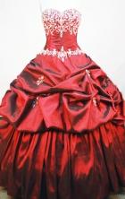 Beautiful Ball gown Sweetheart-neck Sweep Train Taffeta Wine Red Quinceanera Dresses Style FA-W-151