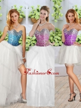 Beautiful White Detachable Quinceanera Dresses with Sequins and High Slit SJQDDT249001FOR