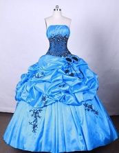 Brand New Ball Gown Strapless FLoor-Length Baby Blue Beading And Appliques Quinceanera Dresses Style FA-S-068