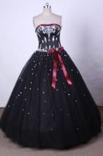 Brand New Ball Gown Strapless FLoor-Length Black Quinceanera Dresses Style L42427