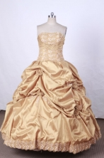 Brand New Ball Gown Strapless FLoor-Length Vintage Quinceanera Dresses Style L42439