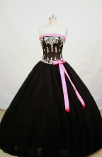 Cheap Ball Gown Strapless Floor-length Black Quinceanera Dresses Style FA-W-005