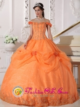 Chic Orange Stylish Quinceanera Ball Gown Dress With Off The Shoulder In Ezpeleta Argentina  Style QDZY575FOR