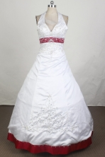 Classical A-line Halter Top Brush White Vintage Quinceanera Dress LHJ42702