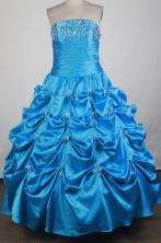 Classical Ball Gown Strapless Floor-length Baby Blue Vintage Quinceanera Dress X0426041