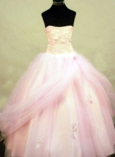 Classical Ball Gown Strapless Floor-length Baby Pink Tulle Appliques Quinceanera dress Style FA-L-235