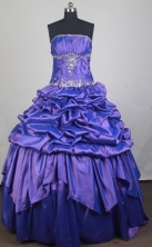 Classical Ball Gown Strapless Floor-length Blue Vintage Quinceanera Dress LZ426022