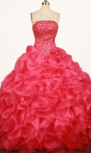 Classical Ball Gown Strapless Floor-length Red Organza Beading Quinceanera dress Style FA-L-367