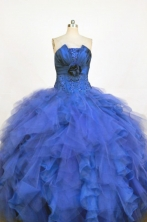 Classical Ball Gown Strapless Floor-length Royal Blue Organza Appliques Quinceanera dress Style FA-L-378