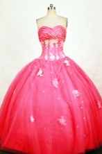 Classical Ball Gown Sweetheart Floor-length Red Appliques Quinceanera dress Style FA-L-400