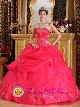 Coral Red Strapless Appliques And Pick-ups Decorate Fabulous Sweet 16 Quinceanera Dress  In Bahia Blanca Argentina  Style QDZY192FOR