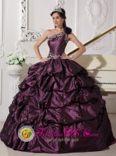 Customize One Shoulder Neckline Dark Purple Quinceanera Dress With Appliques and Pick-ups Decorate In Goya  Argentina Style FOR