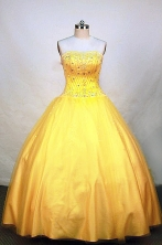 Cute Ball Gown Strapless Floor-length Tulle Yellow Quinceanera Dresses Style FA-W-012
