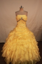 Cute Ball gown Strapless Floor-length Vintage Quinceanera Dresses Style FA-W-305
