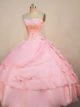 Discount Ball Gown Strapless Floor-length Organza Pink Quinceanera Dresses Style FA-W-032