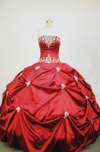 Discount Ball Gown Strapless Floor-length Taffeta Red Quinceanera Dresses Style FA-W-013