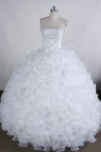 Discount Ball gown Strapless Floor-Length Beading White Quinceanera Dresses Style FA-Y-211
