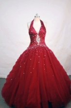 Elegant Ball Gown Halter Top Neck Floor-length Organza Quinceanera Dresses Style FA-W-019