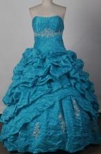 Elegant Ball Gown Strapless Floor-length Blue Vintage Quinceanera Dress LJ2656